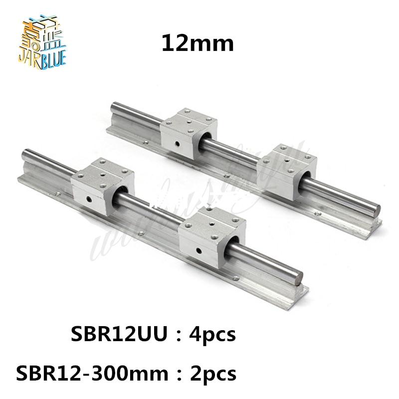 Бесплатная доставка 12 мм линейный рельс SBR12 300 мм 2 шт и 4 шт. SBR12UU линейный подшипник блоки для ЧПУ частей 12 мм линейный руководство