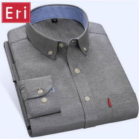 2016 Spring Men Shirt Brand Business Casual Long Sleeve Shirts Mens Oxford Turn Down Collar Solid