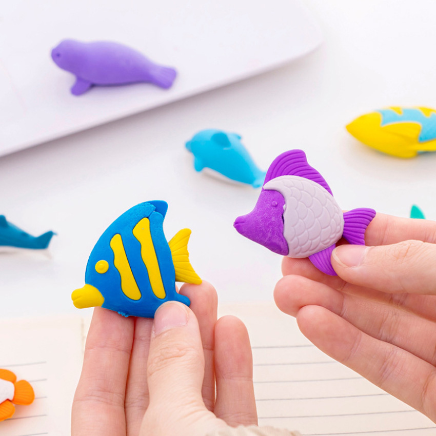4pcs/lot Kawaii Whale Shark Dolphin Sea Animals Eraser Students Stationery School Supplies Material Escolar Erasers For Kids