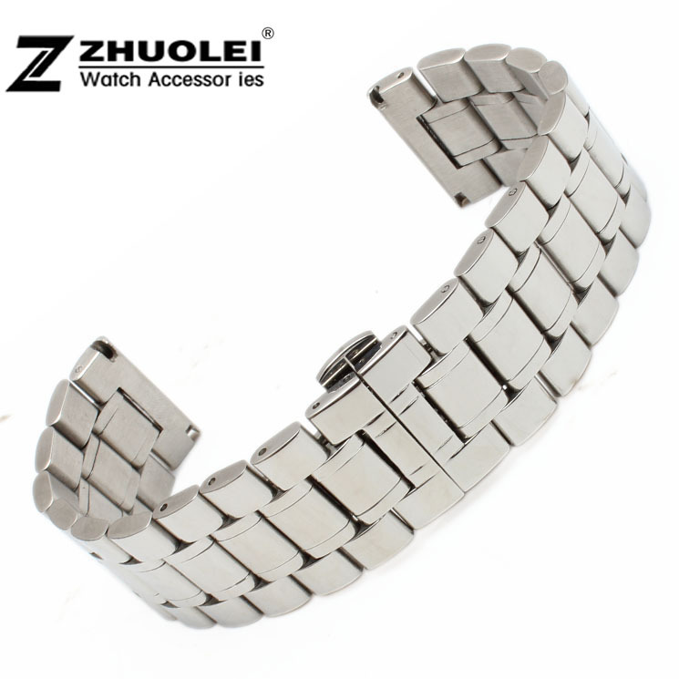 18mm 20mm 22mm 24mm 26mm 28mm 30mm New Men Silver Polished Stainless Steel Watch Band Bracelets Double Push Steel Clasp Buckle watch band 22mm new mens black pure polished solid stainless steel watch bands strap bracelets free shipping