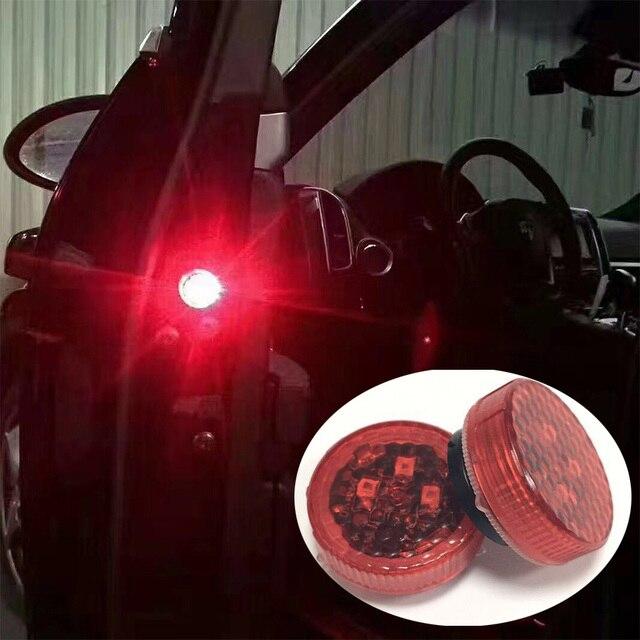 4PCS Car Door Open Flashing Led Warning Light Strobe Light Red Light Battery Power For Universal Car VW Volkswagen Ford Toyota