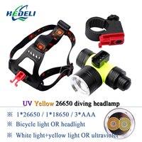 HIGH lumen UV395 headlamp Underwater Diving lights Lighting Headlights XM L2 Led Scuba Dive Headlamp Waterproof Head Torch Lamp