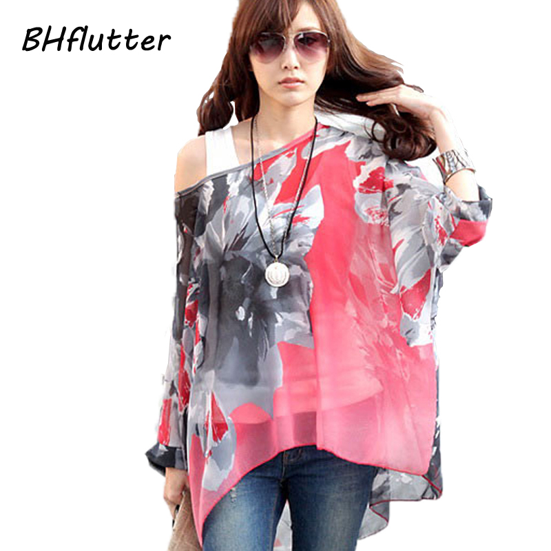 Chiffon Tops Novelty 2018 Ladies Floral Print Casual Loose Blouses