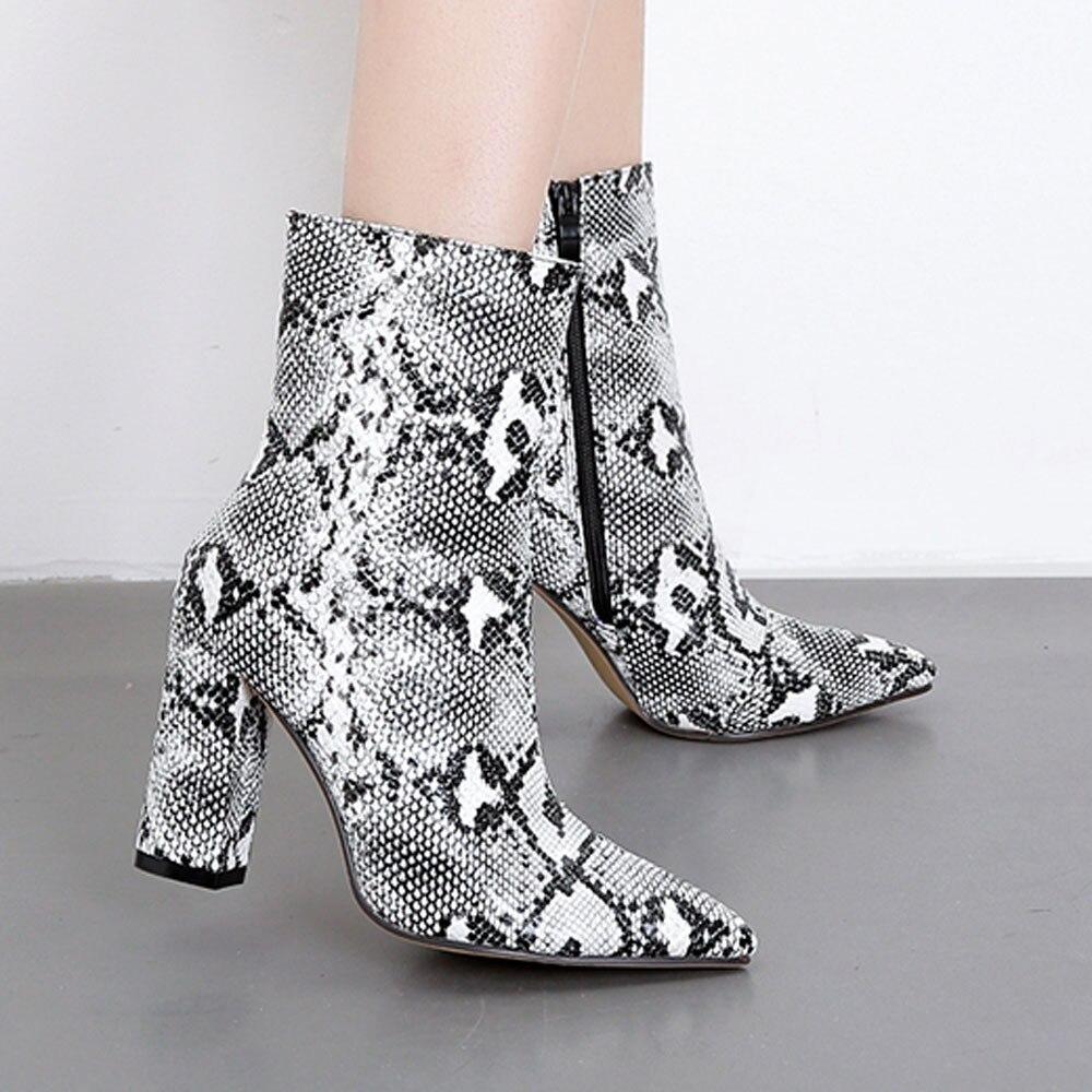 Miuye yuren Lace Up Zipper Booties Women Ankle Boots Fashion Ladies Waterproof PlatformHigh Heel Thin Heel Shoes