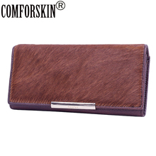 COMFORSKIN New Arrivals Horsehair&cowhide Leather Women Hasp Purse Brand European And American Clutch Wallets Carteira Feminina