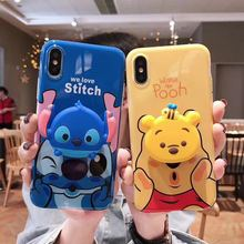 Cute Winnie Pooh stitch for iphone MAX XS XR 6 7 8 plus X For Samsung Galaxy S8 S9 Plus Note 8 9 Doll Bracket Case Back Cover