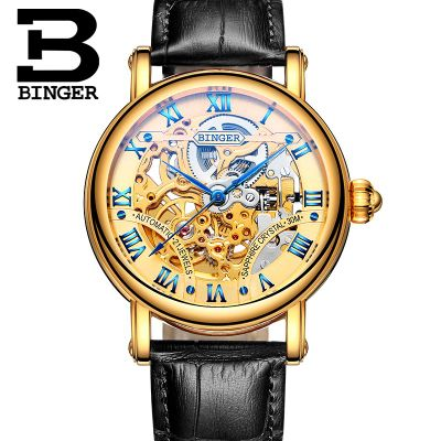 ФОТО Binger Vintage Style Fashion Skeleton Men Watch Man Hollow Leather Automatic Wristwatch Casual Watch Montre Femme Gift Clock