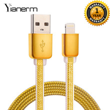 Top Quality Gold-plated Powerline Mobile Phone Micro Usb Cables Copper Core Wire For Iphone 5S 5 SE I6 Android