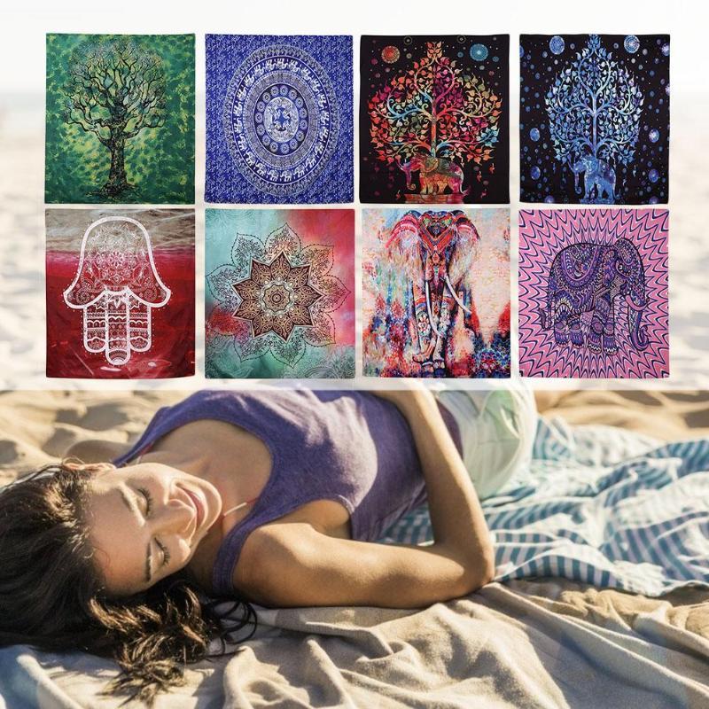 Mandala tapisserie tenture murale Boho plage pique-nique tapis couverture maison Art tapis