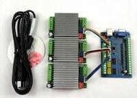 MACH3 USB CNC 5 Axis 100KHz Smooth Stepper Motion Control card breakout board+3PCS TB6600 1 Axis 4.5A Stepper Motor Driver board
