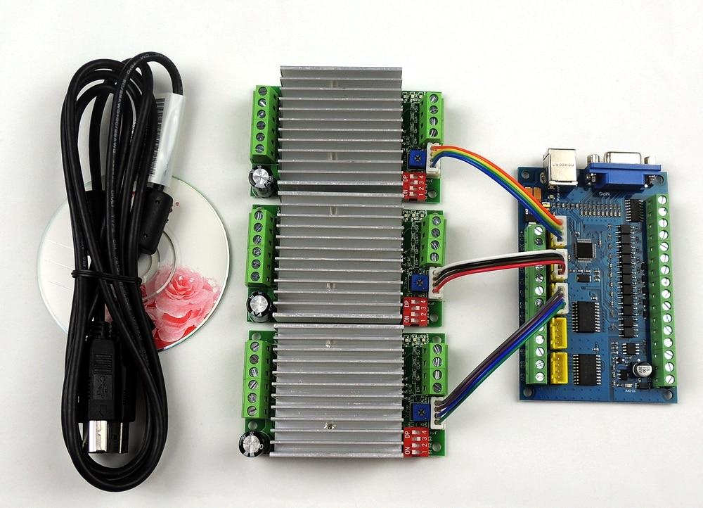 MACH3 USB CNC 5 Axe 100 khz Lisse Stepper carte De Commande De Mouvement sfe + 3 pcs TB6600 1 Axe 4.5A Stepper bord D'attaque de Moteur