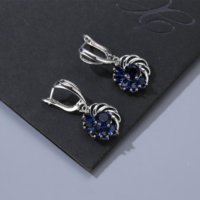 FYM Fashion Luxury 7 Colors Flower Shape Crystal Drop Earrings Dangle Earrings F