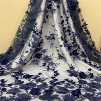 African Lace Fabric 2018 high quality french l Handmade lace fabric with Navy blue 3d lace fabric Embroidered Lace Trim H1432