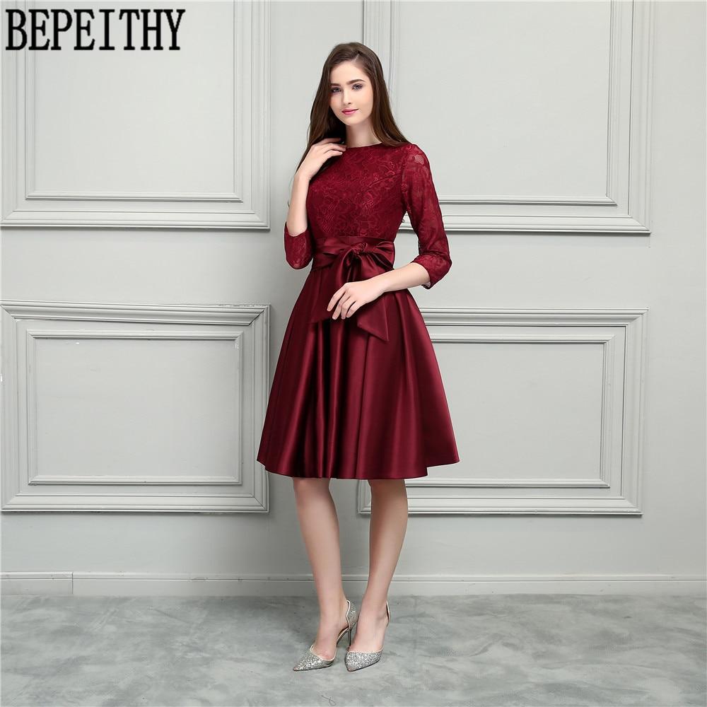 BEPEITHY Nový design Vestido De Festa Longo Scoop dlouhý rukáv luk - Šaty pro svatební hostiny - Fotografie 1