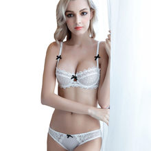 be176cc4cea 2018 Fashion Brand Intimates embroidery 3 4 C D cup TransparentUltra-thin  Brief Bra Set
