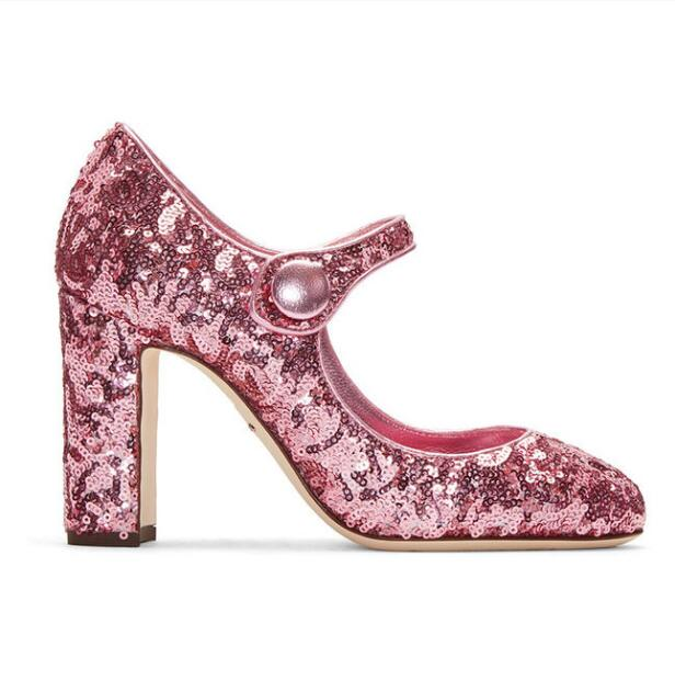 Zapatos mujer high-heeled party shoes 9.5cm high thick heels bling design women sequined cloth glitter pink shoes lace up heels 2018 pink sequined glitter tulle