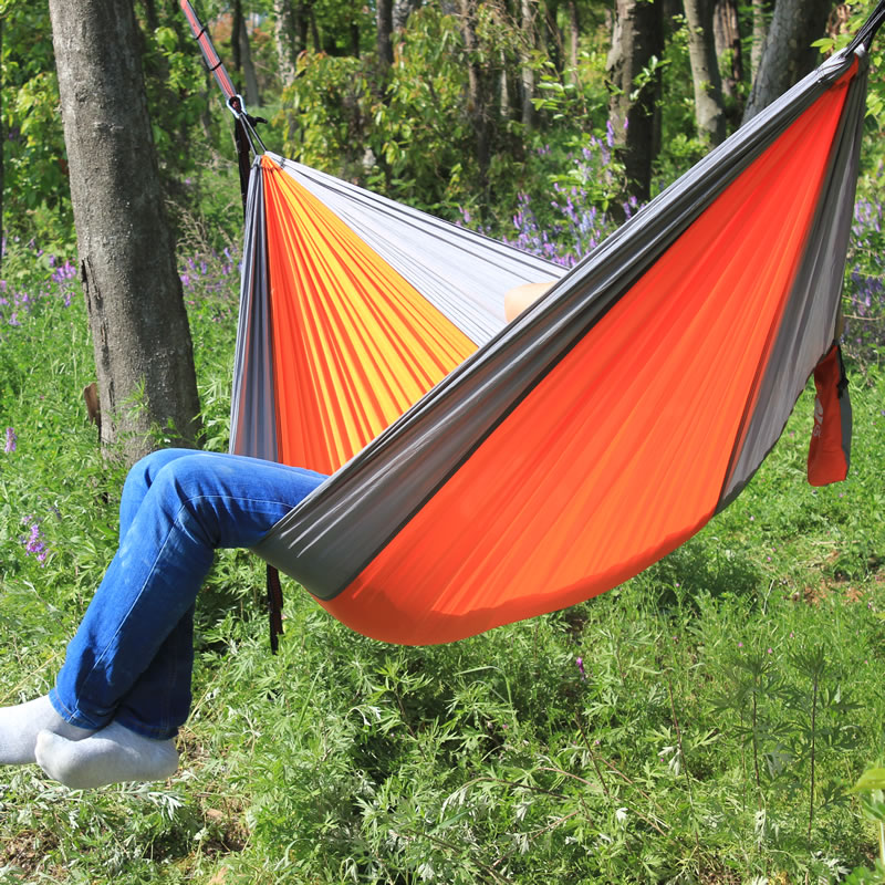 2018 Outdoor Camping Hammock Double Camp Hamac Portable Lightweight Nylon Fabric For Outdoor Travel Suspension Handy Hammoc