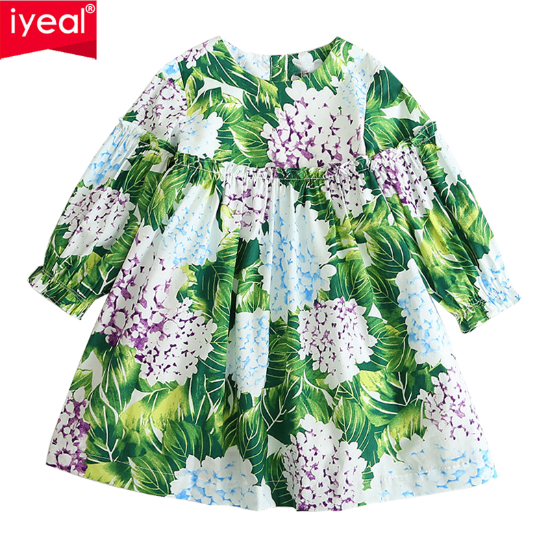 IYEAL Princess Kids Girls Dress Long Sleeve Autumn Brand Children Christmas Dress Flower Printed Kids Dresses for Girl Clothes