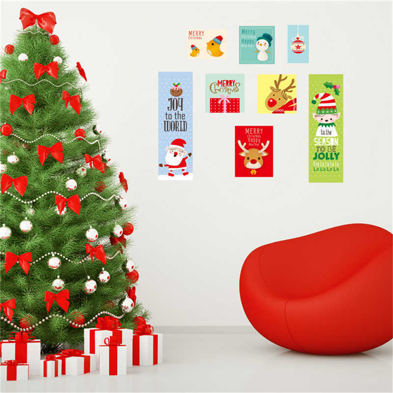 Cartoon Santa Claus Wall Stickers Wall Art Removable Home Decal Party Decor Merry Christmas Window Film Stickers-in Wall Stickers from Home & Garden