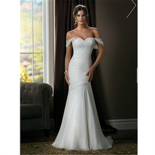 Embroidery Lace Satin New Design Elegant Mermaid Sweetheart Beading Wedding Dress White Ivory VESTIDO DE NOIVA