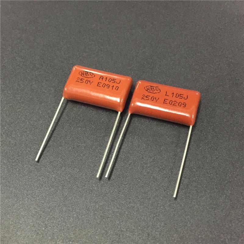 10PCS CL21 105J 250V 1UF 1000NF P20 Metallized Film Capacitor