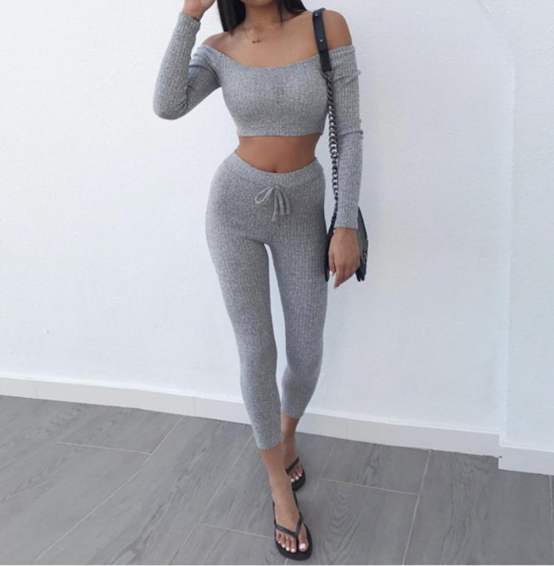 Grey Two Piece Set Women Tracksuit Off Shoulder T Shirt Crop Top Pencil Pants Leggings Set Bodycon Slim Suit