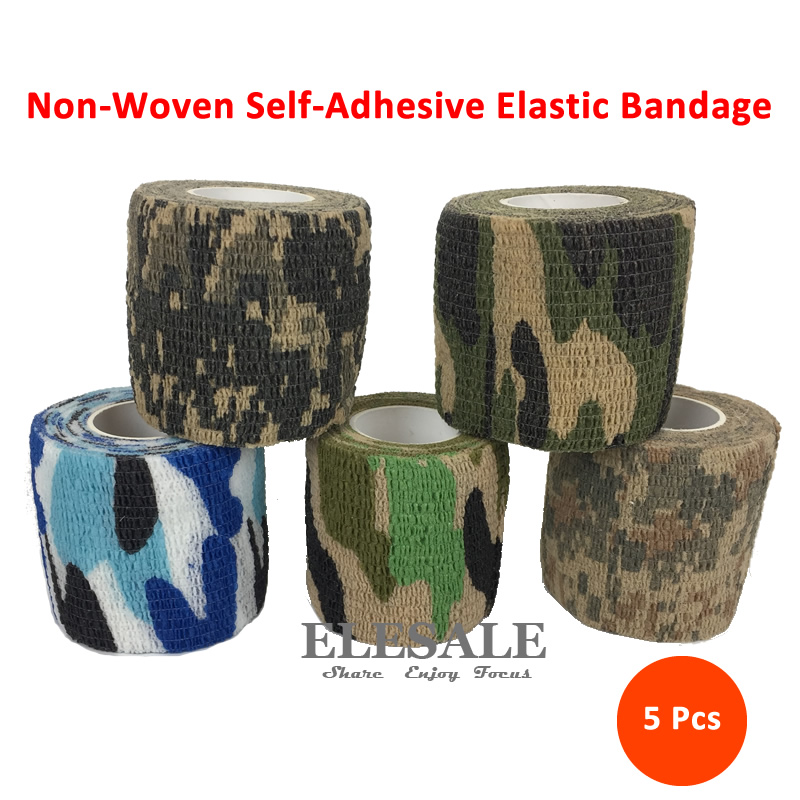New 5pcs 5x 4.5cm Non-Woven Self-Adhesive Elastic Bandage Camouflage Color Sports Tape ForEmergency Kits Accessories
