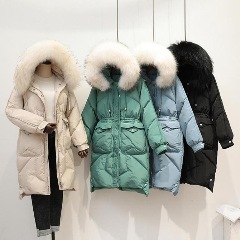 2019 New Arrival Mediu Long Duck   Down   Jacket Women Zipper Slim Thick Warm Outerwear Ladies Real Fur Collar White Duck   Down     Coats