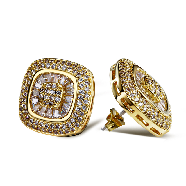Marriage Gifts 2017 square stud earrings Rhodium and gold plate high quality Aaa Cubic Zirconia crystal Earrings Jewelry
