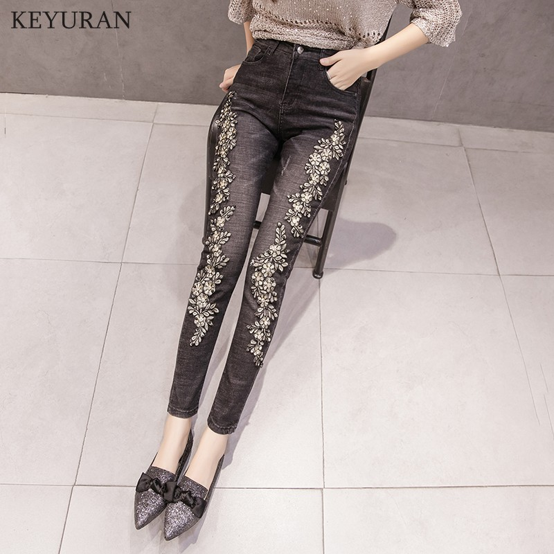 Pantalones Slim Skinny Flor Las Denim Mujer Stretch Negro Diamante Lápiz Bordado Jeans Para Femme Mujeres Feminina Capris 1U6wAqp0