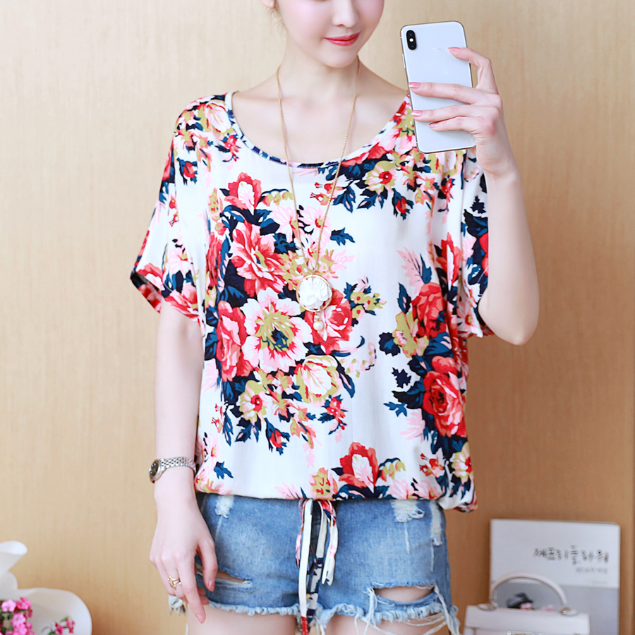 Plus Size Summer   Blouse   Women Tops 2019 New Floral Print Chiffon   Blouses     Shirt   Female Casual Ladies Elegant Blusas Femininas