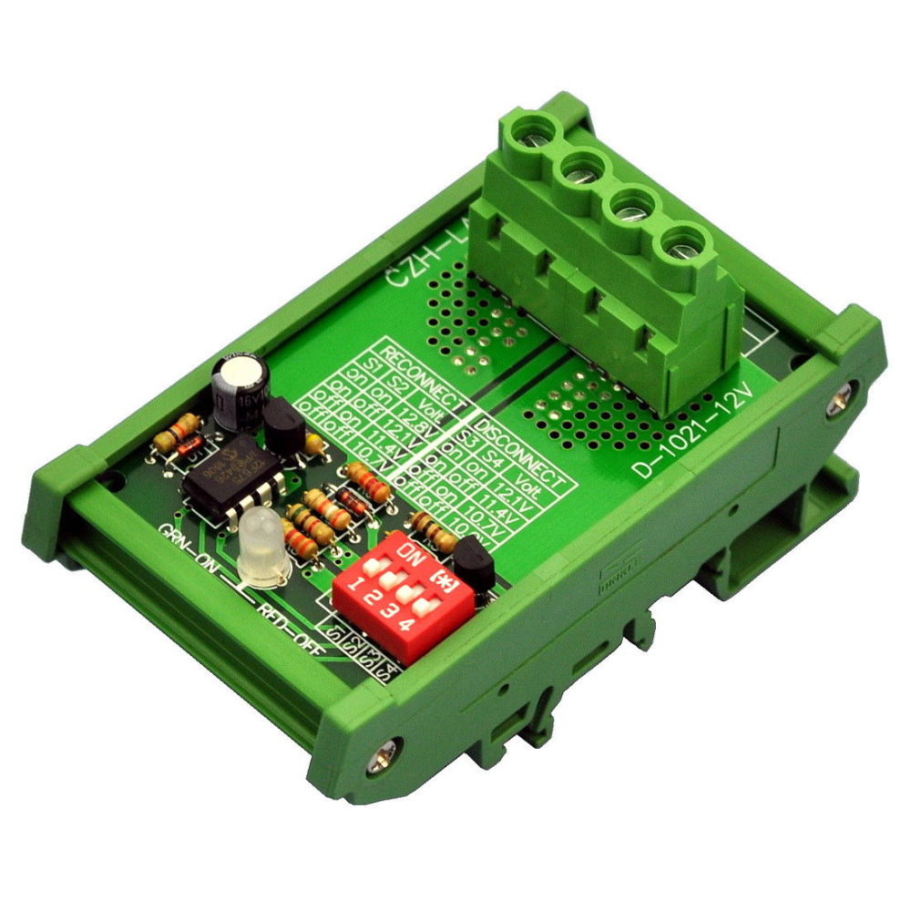 DIN Rail Mount LVD Low Voltage Disconnect Module, 12V 30A, Protect Battery.