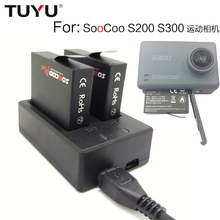 TUYU For SOOCOO S200 S300 battery charger USB Dual battery charger S200 S300 Sport Camera Dual battery charger