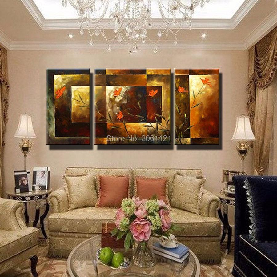 Tangan-dicat ukuran Besar 3 pcs / set abstrak wall art home decor - Dekorasi rumah - Foto 3