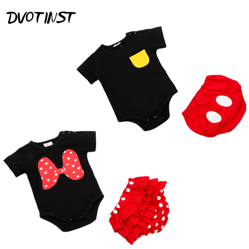 Baby Girl Clothes Summer Short Sleeves Mickey Bodysuit+Shorts 2pcs Set Jumpsuit Outfit Infant Children Toddler Clothing Costume 3pcs mini mermaid newborn baby girl clothes 2017 summer short sleeve cotton romper bodysuit sea maid bottom outfit clothing set