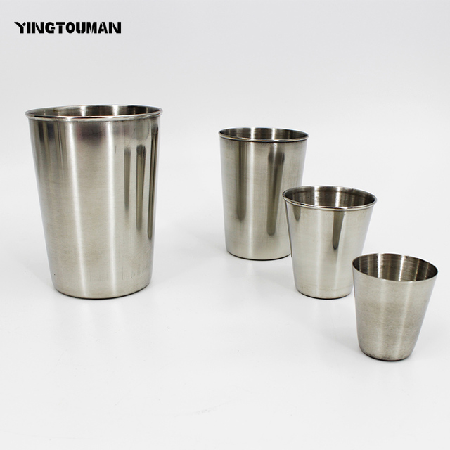 YINGTOUMAN 3pcs/lot 30ml/50ml/180ml/300ml Outdoor Camping Protable Stainless Steel Cup Double Coffee Cup Drinking Cups