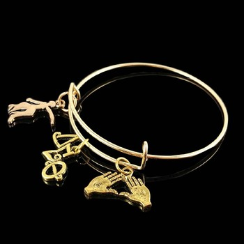 Drop shipping DST letter pinky charm bangle for sister gift Jewelry Delta Sigma Theta Sorority Charm Bangle 1