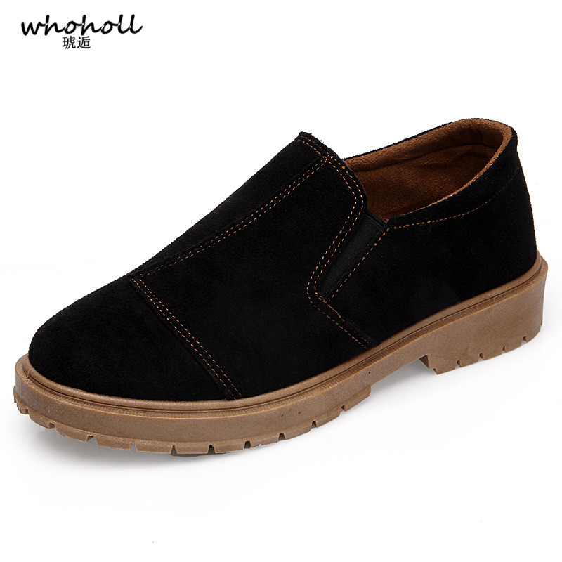 WHOHOLL Women Flats Shoes Suede Leather Slip on Ladies Cute Casual Shoes Solid Black Female Classic Loafers Footwear Spring in Women 39 s Flats from Shoes