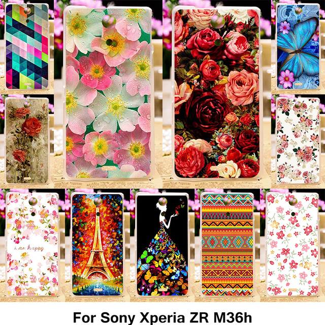 TAOYUNXI Silicone Phone Cover Case For Sony Xperia ZR M36h C5502 C5503 4.6 inch Cover Flower Rose Eiffel Tower TPU Plastic Case