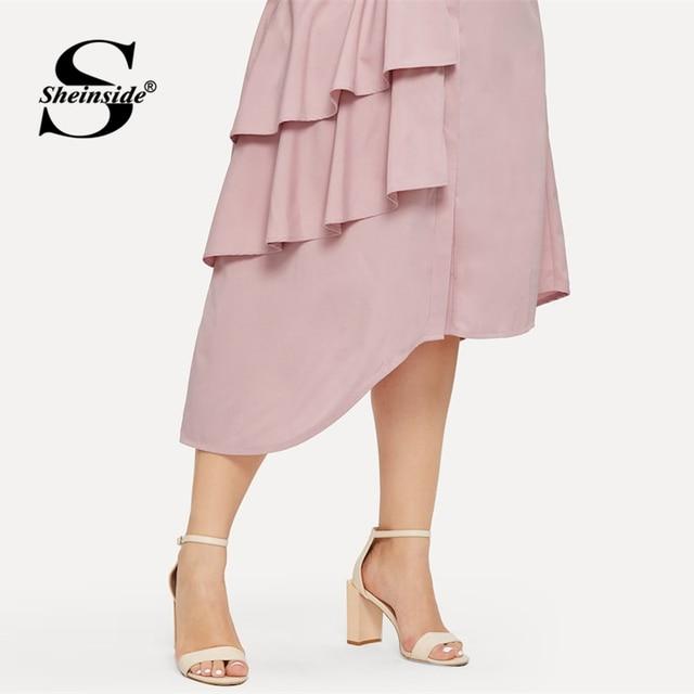 Sheinside Plus Size Pink Casual Ruffle Detail Shirt Dress Women 2019 Spring Asymmetrical Hem Midi Dresses Ladies Straight Dress 4