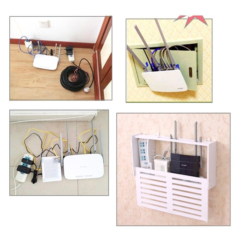 Wifi Shelf Storage-Box Wood-Plastic Wireless 1pcs 25--20--9.5cm 2-Type Wall-Hanging-Bracket