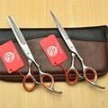 2Pcs 6'' 17.5cm Purple Dragon Professional Human Hair Scissors Salon Hairdressing Scissors Cutting Shears Thinning Scissor Z1009