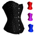 free shipping Clearance Ladies sexy lingerie rhinestone blue corset gothic burlesque Diamante bustier corselet S-XXL -6XL