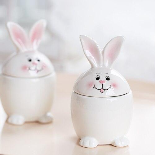 2pcs lot handmade creative white ceramic rabbit egg holder for Rabbit decorations home