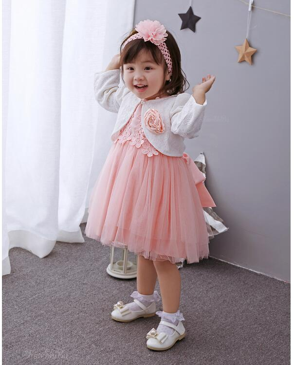 Baby Girl's Pageant Suits 2017 Summer Lace Christening Dress+Headband+Coat Infant 3PCS Sets Kids Birthday Formal Outfits plain headband 3pcs