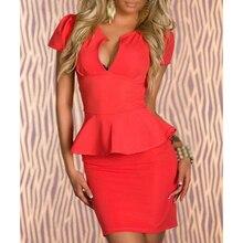 купить Women Lady Sexy Fashion V-neck OL Peplum Dress Party Bodycon Dresses дешево