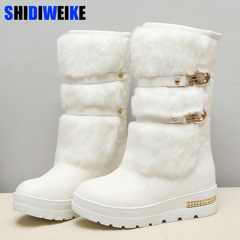 Promotion large size 34-43 Women Winter Boots Fashion Hidden Wedges Warm Fur Shoes Woman Platform Med-calf Snow Boots N164 цена