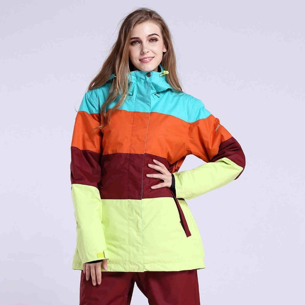 Prix pour Gsou SNOW Femmes veste de ski Snowboard combinaison de ski sports de Plein Air Dames Neige Manteau Coupe-Vent Imperméable femmes Chaud Vêtements