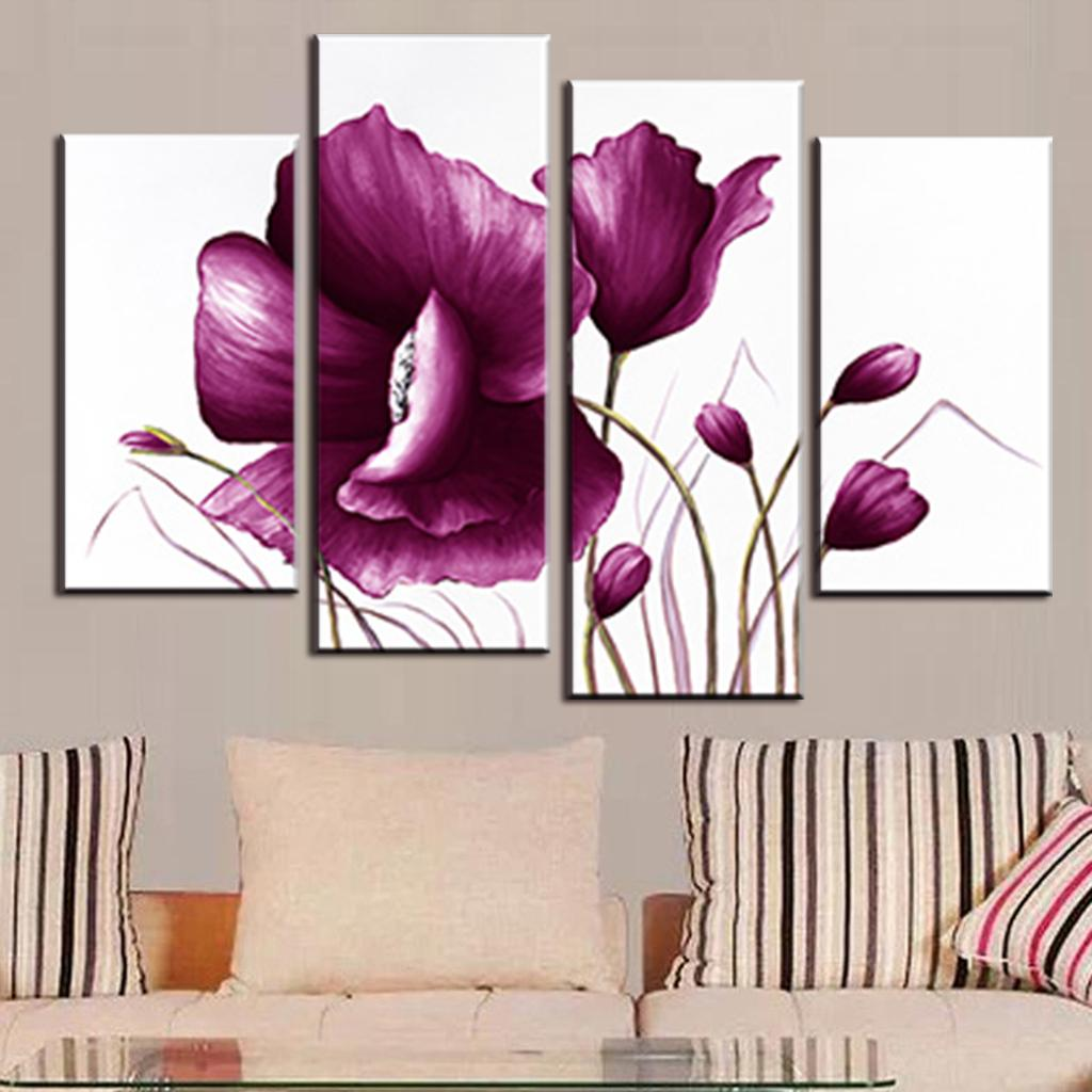 Aliexpress Buy 4 Pcsset Romance Big Flower Painting Modern