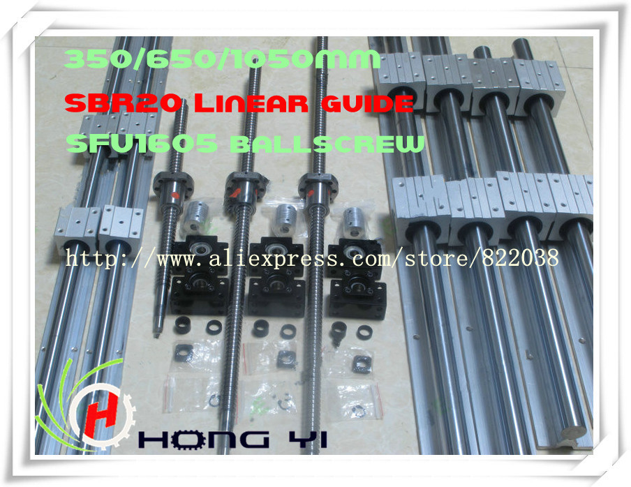 2 X  SBR20 -300/600/1000MM Linear rail support sets+3 Ballscrews RM1605 +3 BK/BF12 +3 coupling 6 sets sbr16 300 600 700mm linear rails 4 pcs 1605 350 600 750mm ballscrews bk12bf12 shaft coupling